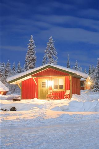 iPhone Fondos de pantalla Invierno, nieve, casas, arboles, luces.