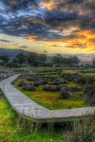 iPhone Wallpaper Wooden bridge, coast, river, trees, grass, clouds, dusk