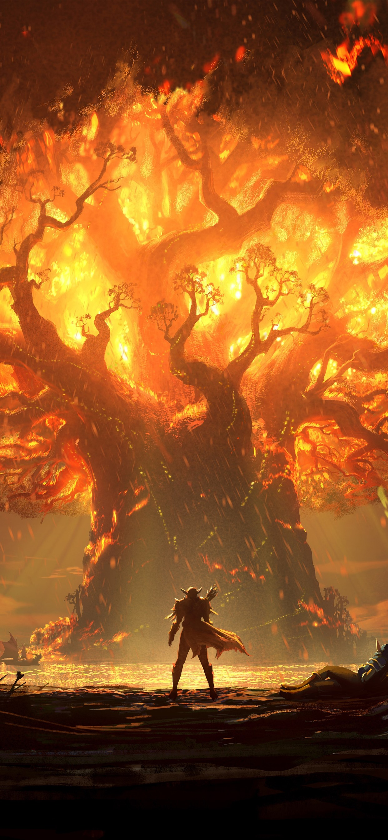 World Of Warcraft Battle For Azeroth Flame Tree 1242x2688