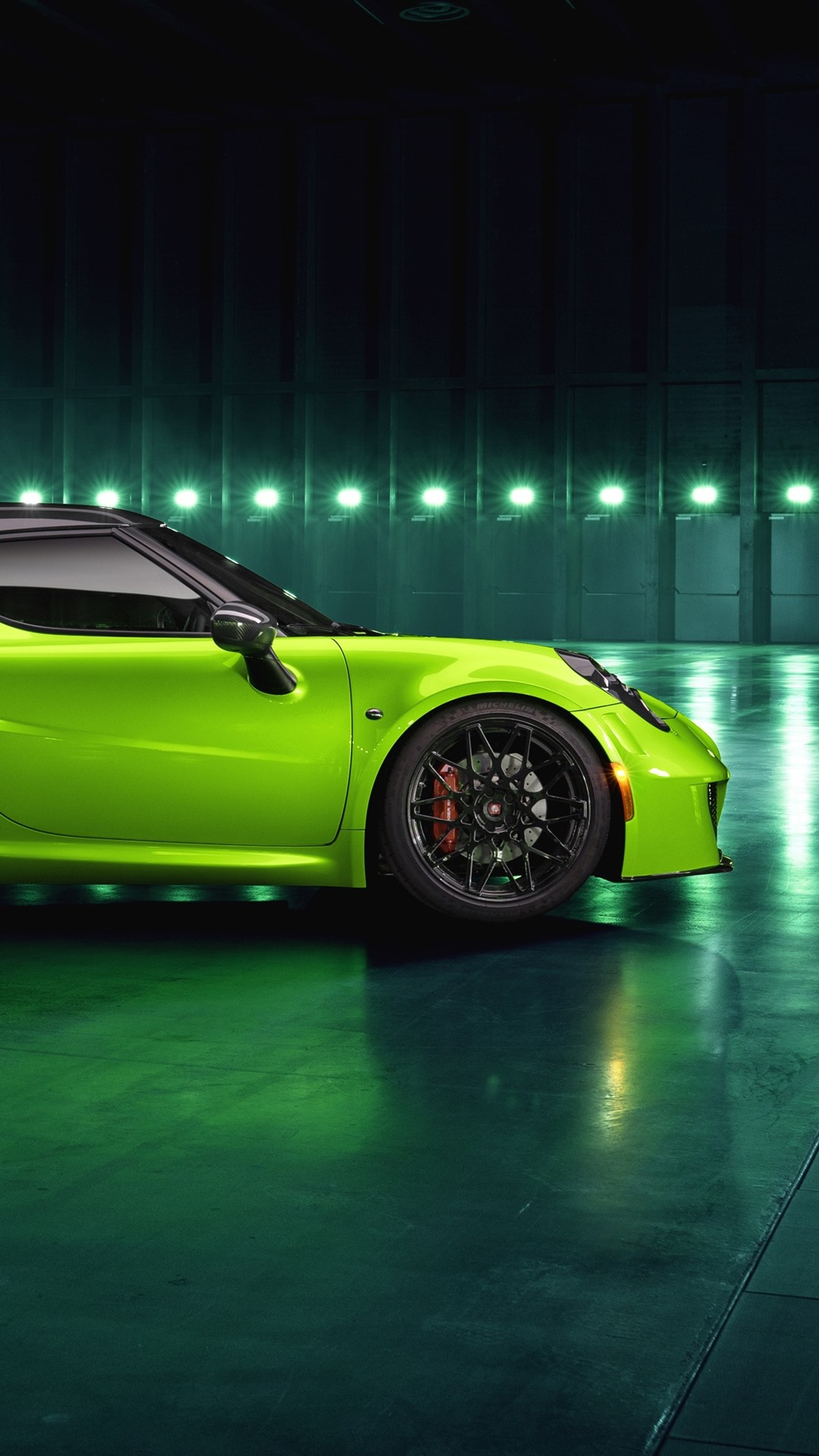 Alfa Romeo 4c Green Car Side View 1080x1920 Iphone 8 7 6 6s