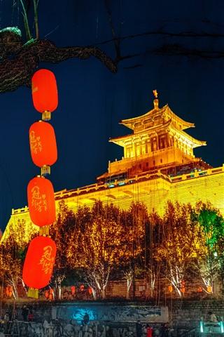 iPhone Fondos de pantalla Edificio de la ciudad antigua, linternas, noche, luces, China