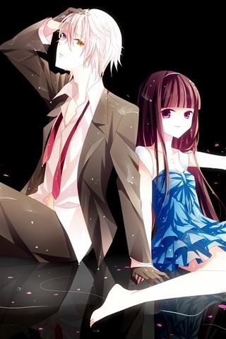 iPhone Wallpaper Anime girl and boy, pink petals, romantic