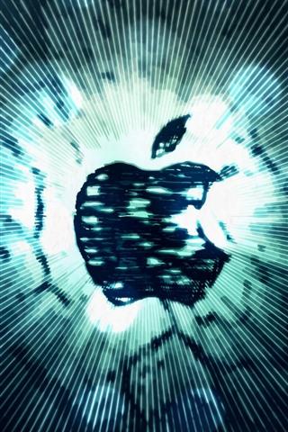 iPhone Papéis de Parede Logotipo da Apple, listras, linhas
