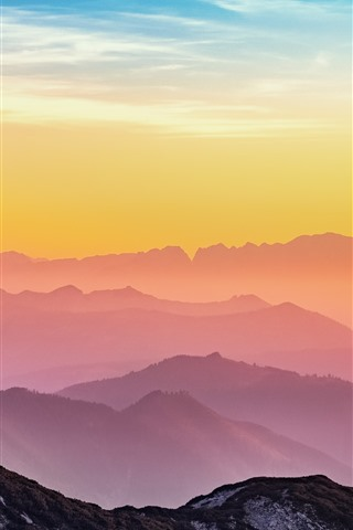 iPhone Fondos de pantalla Austria, montañas, amanecer, nubes, amanecer