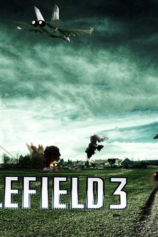 iPhone Wallpaper Battlefield 3, farmland, tank, fighter