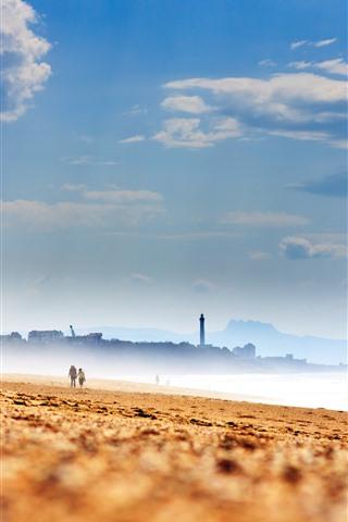 iPhone Wallpaper Beach, sands, sea, city, fog