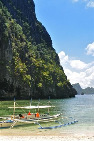 iPhone Wallpaper Beach, sea, boats, islands, tropical