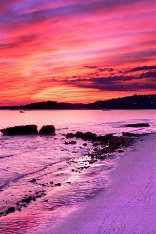 iPhone Papéis de Parede Praia, mar, pôr do sol, cidade, luzes, céu vermelho