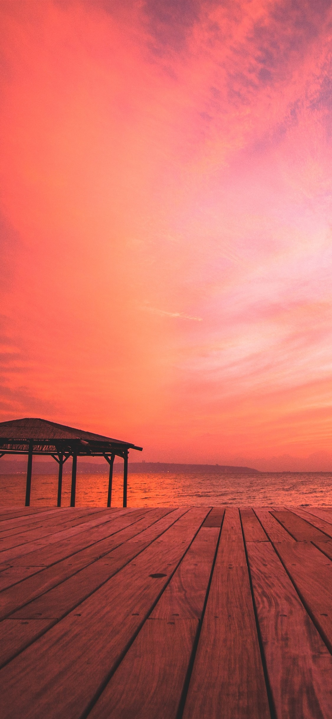 Beach Sea Wood Board Sunset Red Sky 1242x2688 Iphone 11 Pro Xs Max Wallpaper Background Picture Image