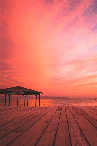 iPhone Wallpaper Beach, sea, wood board, sunset, red sky