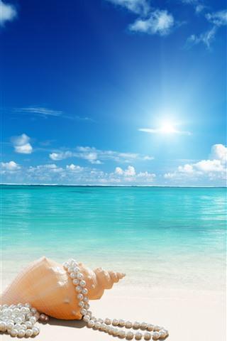iPhone Papéis de Parede Praia, concha do mar, jóias, mar, sol, azul