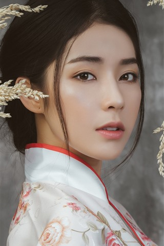 iPhone Wallpaper Beautiful Chinese girl, face, hairstyle, reeds
