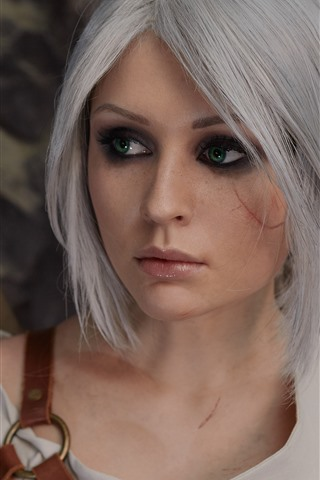 iPhone Wallpaper Beautiful Cosplay girl, green eyes, The Witcher 3: Wild Hunt