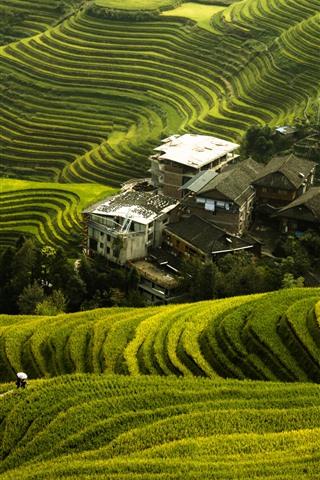 iPhone Fondos de pantalla Hermosas terrazas de arroz Longji, pueblo, Guilin, China