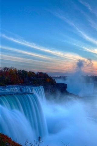 iPhone Wallpaper Beautiful Niagara Falls, city, fog, morning, Canada