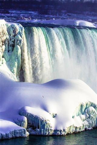 iPhone Wallpaper Beautiful Niagara Falls, thick snow, water stream, fog, Canada