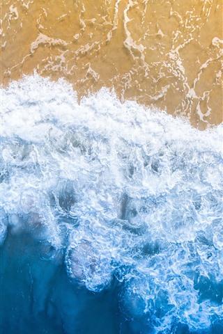 iPhone Papéis de Parede Praia bonita, mar, espuma, vista superior
