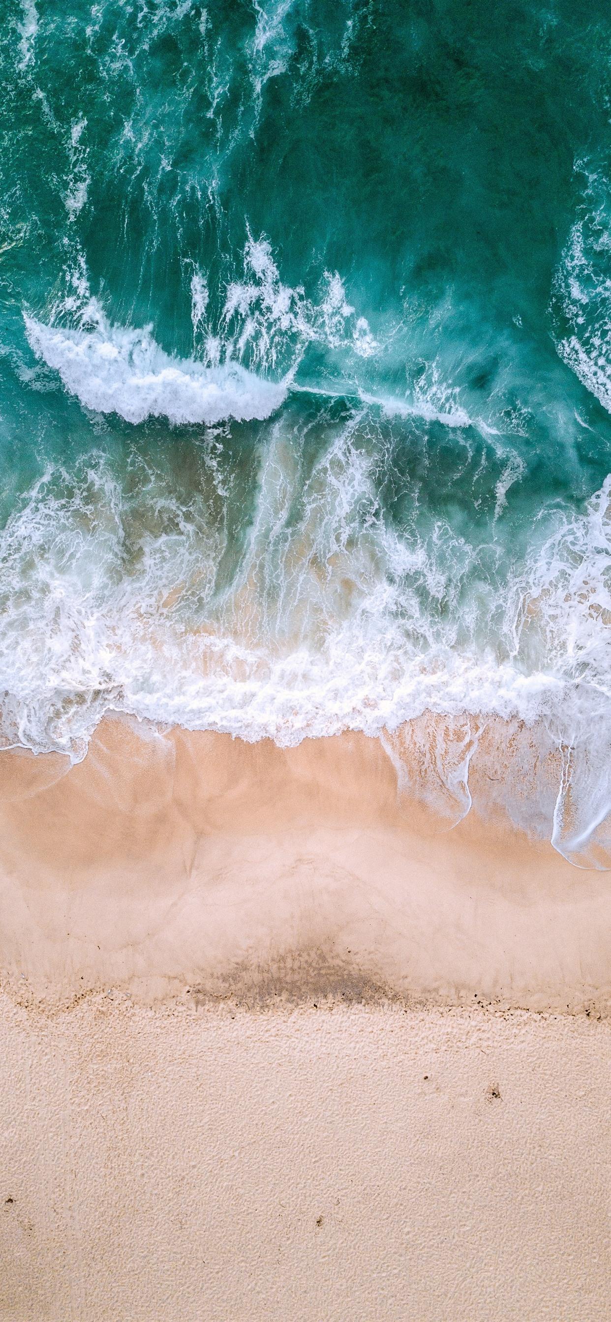 Beautiful Beach Sea Waves Foam Top View 1242x2688 Iphone