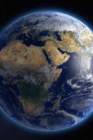 iPhone Papéis de Parede Planeta azul bonito, terra, fulgor