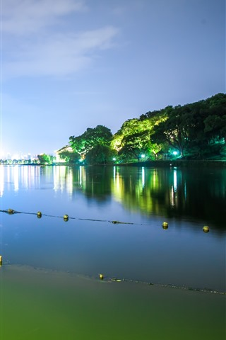 iPhone Wallpaper Beautiful park at night, Hangzhou West Lake, China