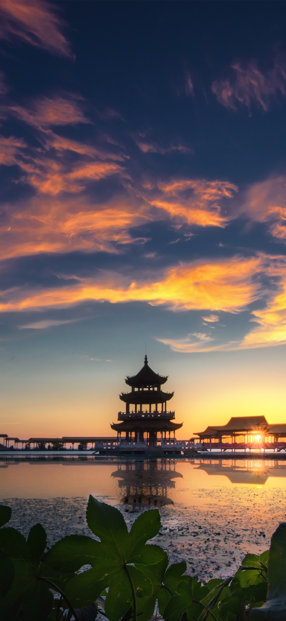 Beautiful Sunset Park Lake Pavilion Tongyi Jiayuan Wuxi