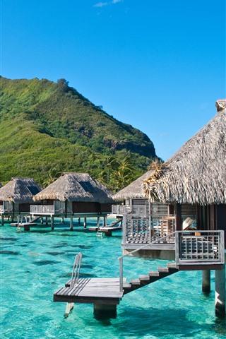 iPhone Wallpaper Beautiful tropical, sea, bungalows, resort
