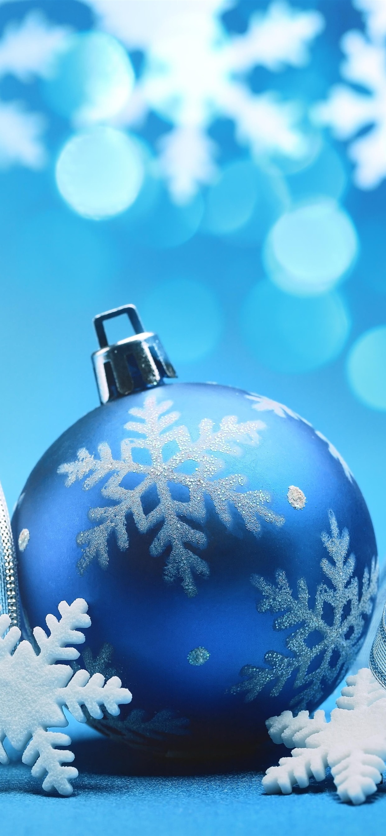 Blue Christmas Ball Ribbons Snowflakes Blue Background