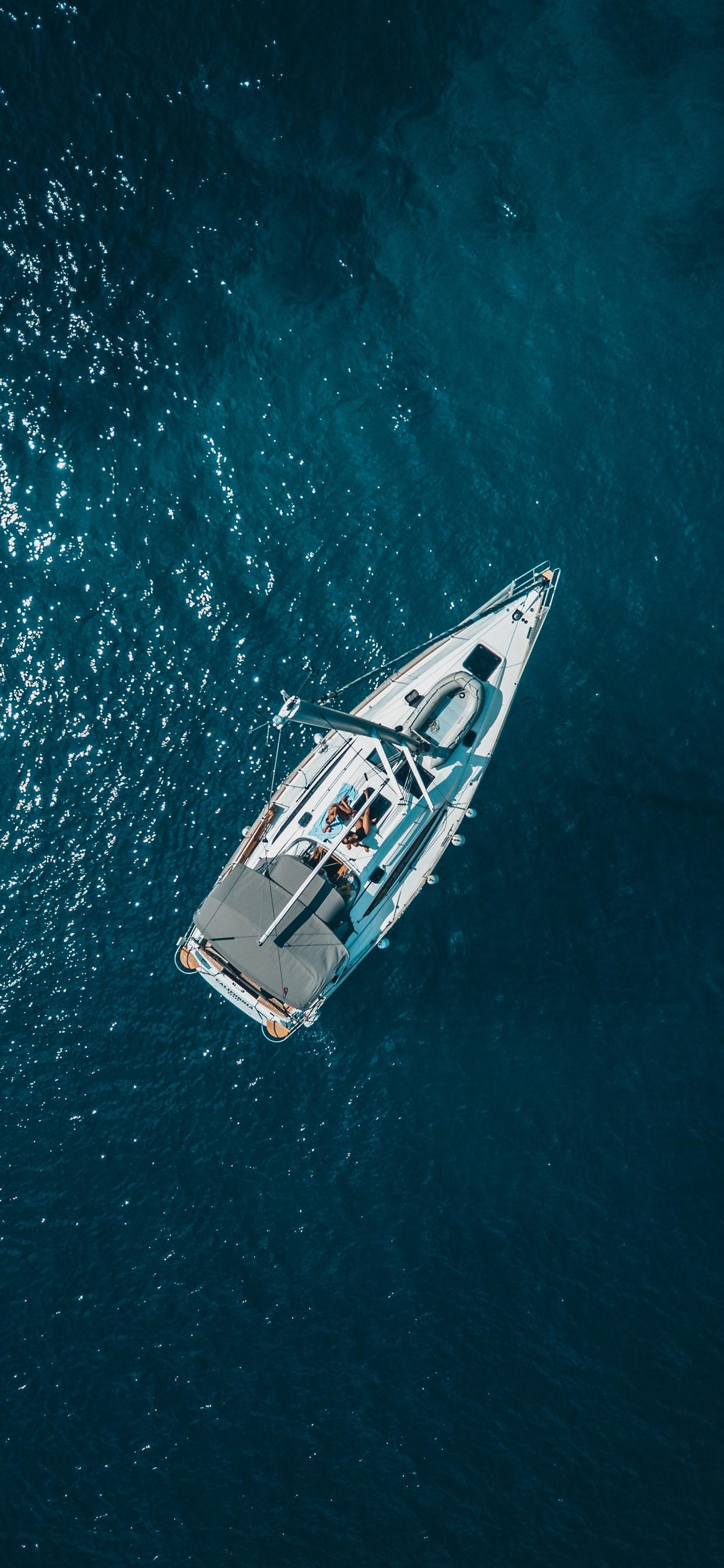 Boat Sea Top View 1242x2688 Iphone Xs Max Wallpaper