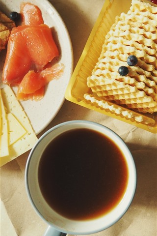 iPhone Fondos de pantalla Pan, galletas, café, naranjas, desayuno.