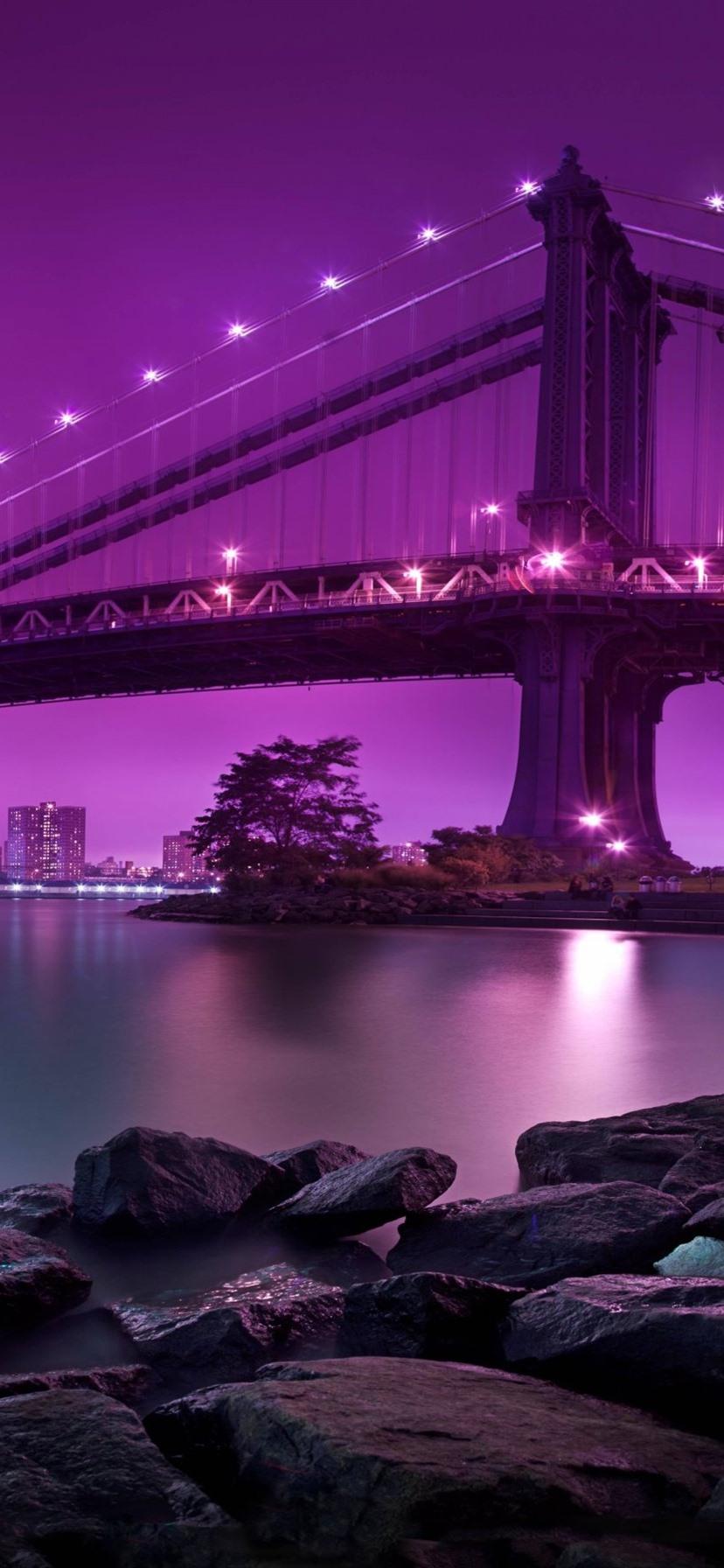 Bridge Lighting River Rocks City Pink Background