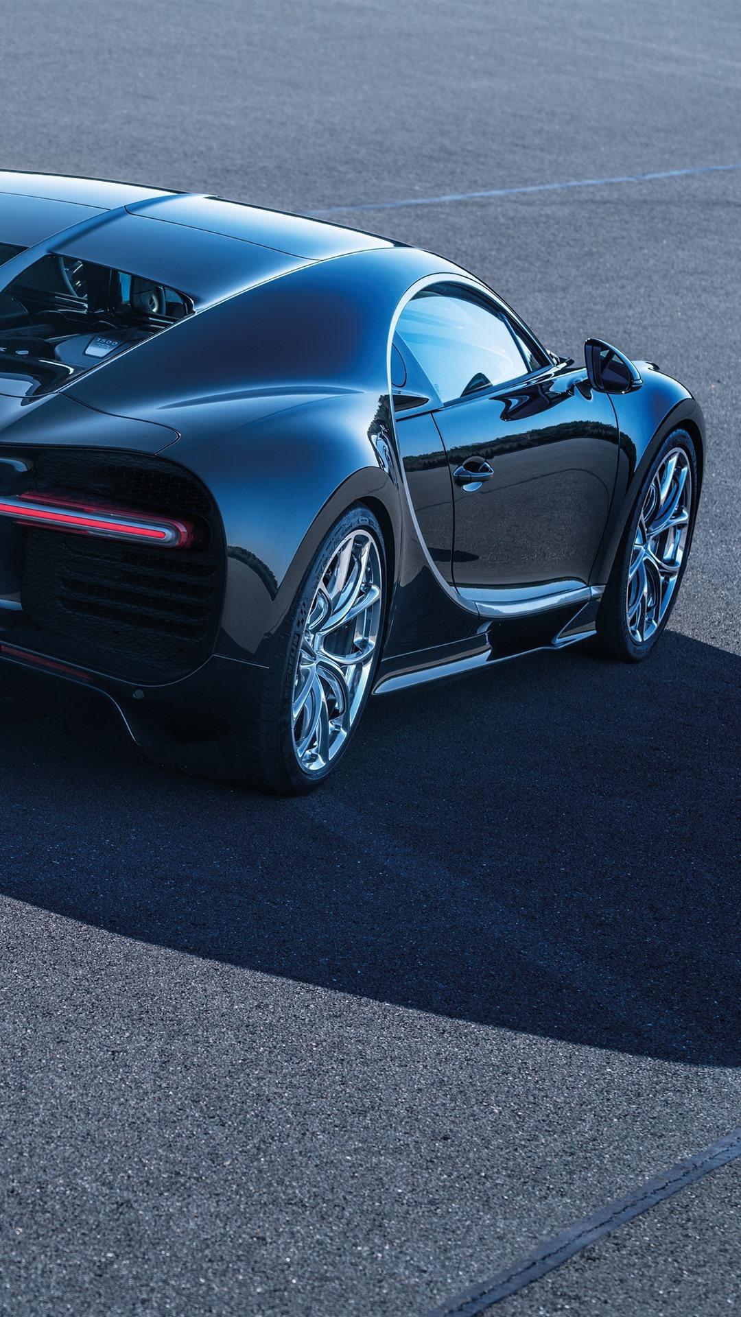 Wallpaper Bugatti Chiron Black Supercar Rear View