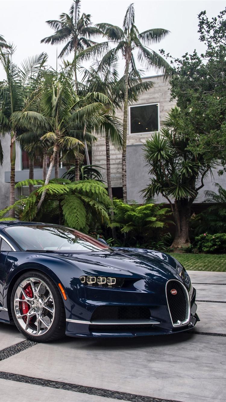 Bugatti Blue Supercar Palm Trees 1242x2688 Iphone 11 Pro Xs Max Wallpaper Background Picture Image