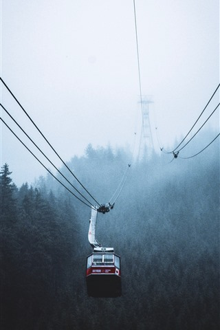 iPhone Wallpaper Cable car, fog, trees, morning, Canada