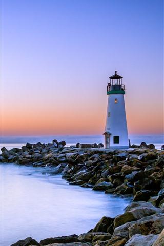 iPhone Fondos de pantalla California, faro, rocas, mar, amanecer, USA