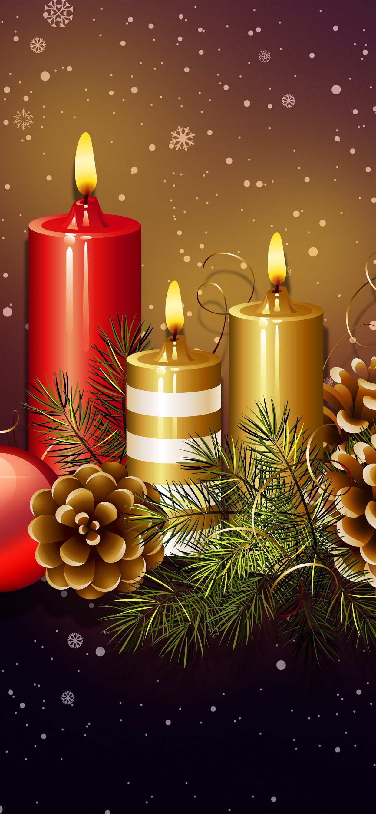 Wallpaper Candles, flame, Christmas balls, decoration, snowflakes, art  picture 7680x4320 UHD 8K Picture, Image