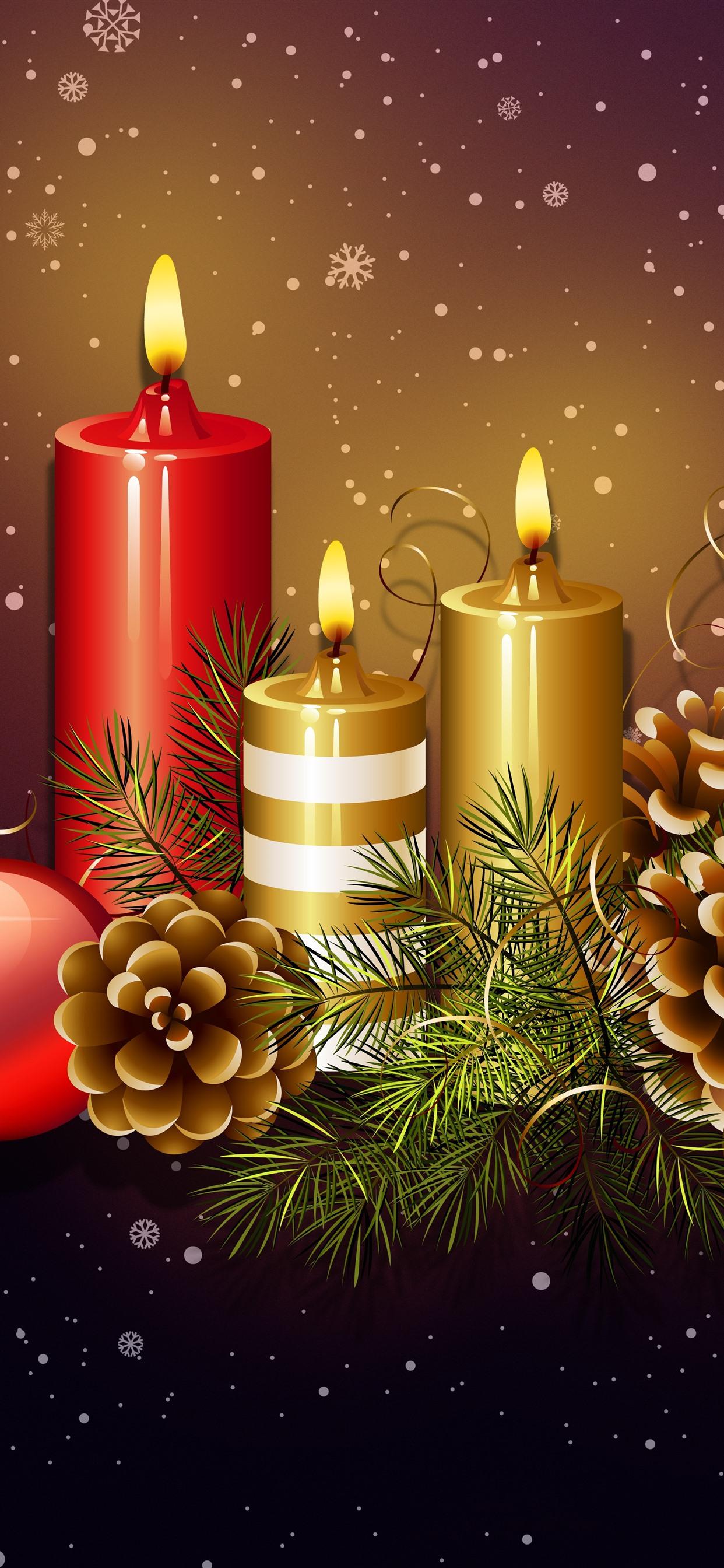 Candles Flame Christmas Balls Decoration Snowflakes Art