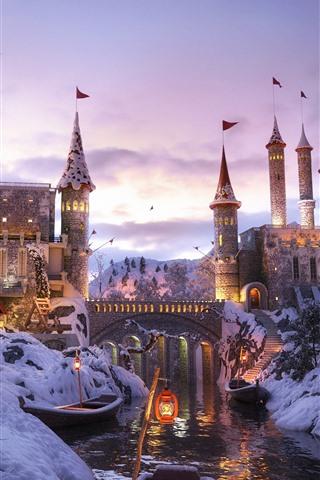 iPhone Wallpaper Castle, river, snow, boat, winter, dusk