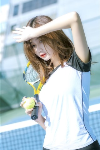 iPhone Wallpaper Chinese girl, sport, tennis, sunshine