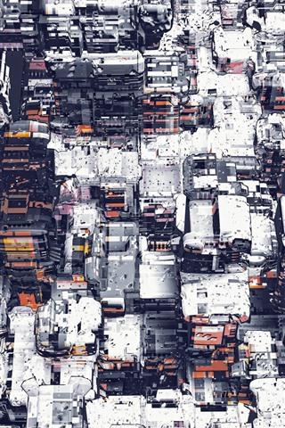 iPhone Wallpaper City, buildings, snow, creative art picture