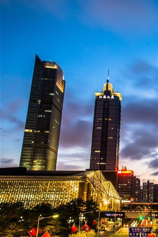 iPhone Fondos de pantalla Noche de la ciudad, Shenzhen, China, calle, luces, edificios
