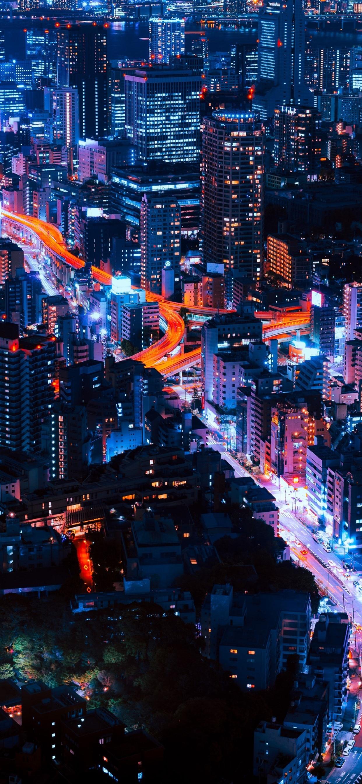 City Night Skyscrapers Buildings Lights Roads 1242x2688