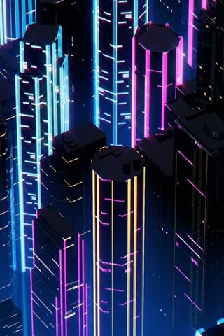 iPhone Fondos de pantalla Ciudad, rascacielos, noche, neón, cuadro del arte