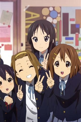 iPhone Wallpaper Cute anime girls, schoolgirl, classroom