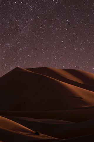 iPhone Fondos de pantalla Desierto, noche, duna, estrellada, estrellas.