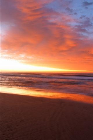 iPhone Wallpaper Evening, sea, beach, clouds, sunset