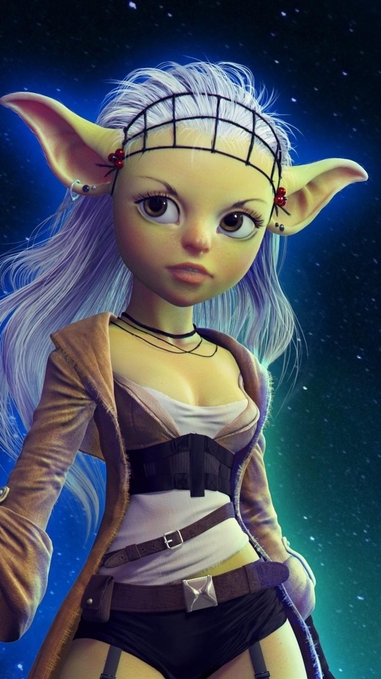 Fantasy girl, elf, starry, sky, night 750x1334 iPhone 8/7/6