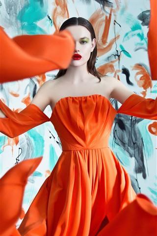 Fashion Girl Orange Skirt Art Photography 1080x1920 Iphone