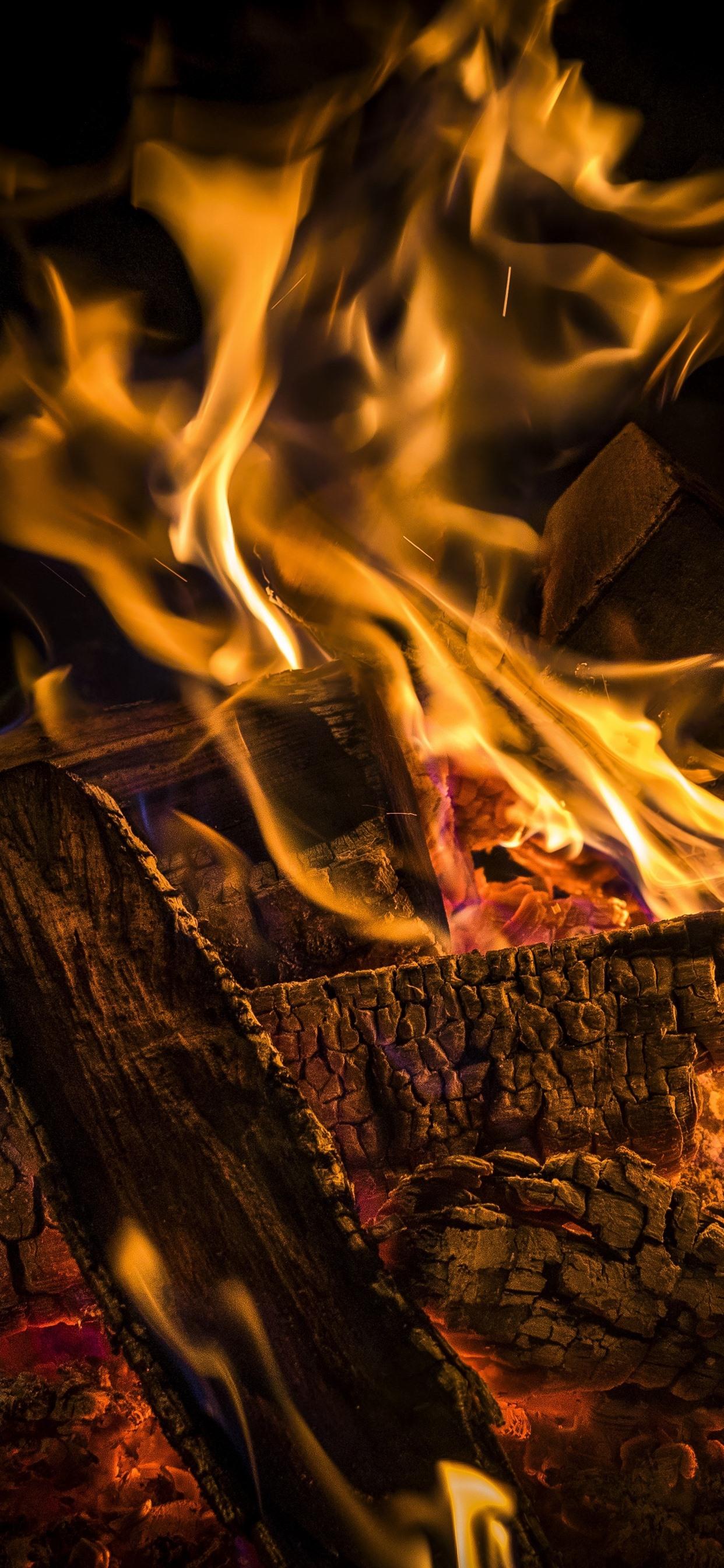 Firewood Fire Flame 1242x2688 Iphone Xs Max Wallpaper