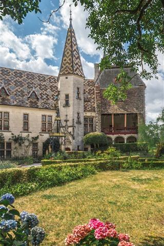 iPhone Wallpaper France, Burgundy, garden, hydrangea, castle, house