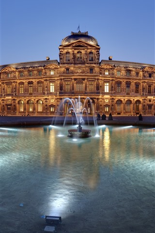 iPhone Wallpaper France, Louvre, fountain, night, lights